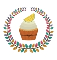 Crown of leaves with cupcake with cream and lemon vector image