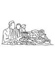 muslim traditional family together having dinner vector image