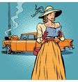 Woman crash car retro funny vector image