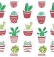 Hand drawn seamless pattern with Cacti vector image vector image