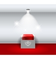 Empty white stand for your exhibit with red carpet vector image