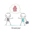 financier talking with a man about the house vector image vector image