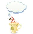 A girl above the big mug of tea vector image vector image