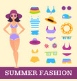 beach fashion girl and miscellaneous clothes vector image