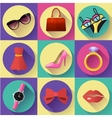 Fashion and Clothing Icons set Flat 20 vector image