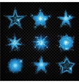 Blue glittering stars sparkling particles on vector image