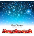 christmas background with red shiny baubles for vector image