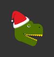 dino santa tyrannosaurus and claus cap red hat vector image