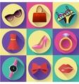 Fashion and Clothing Icons set Flat 20 vector image