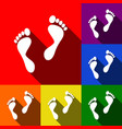 foot prints sign set of icons with flat vector image