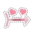 pink happy valentines day card arrow hanging vector image