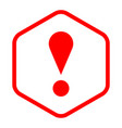 red sexangle exclamation mark icon warning sign vector image