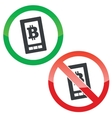Bitcoin screen permission signs set vector image