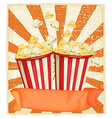 Popcorn in cups with banner vector image vector image
