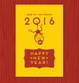 happy new year greeting card with cute monkey vector image