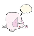 cartoon pink elephant with thought bubble vector image