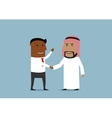 Handshake of american and arabian businessmen vector image