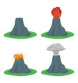 cartoon color volcano erupting set vector image