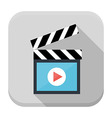 Clapboard flat app icon with long shadow vector image