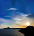 Nature background sea mountain sun sky during vector image