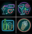 neon light design for food and beverage vector image