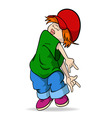 cute hiphop cartoon girl in red hat vector image vector image