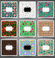 set seamless patterns of flowers and birds vector image
