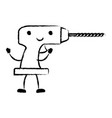 drill tool icon monochrome cartoon blurred vector image