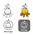 Engraving fire logo emblem vector image