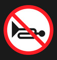 No horn prohibited sign flat icon vector image