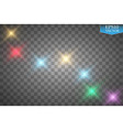set of color lights flares isolated on vector image