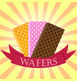 set of wafers waffles logo concept on starburst vector image