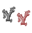 Vintage isolated capital letter Y vector image