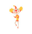funny clown in a red hat dancing colorful cartoon vector image