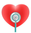 red heart with stethoscope use for heart medical vector image