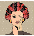 Woman with curlers in their hair vector image