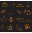 halloween orange color outline icons set eps10 vector image