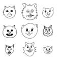 Adorable Cartoon Cats Faces vector image