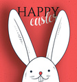 Happy easter Rabbit looks and greeting calligraphy vector image