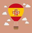 hot air balloon with spain flag vector image