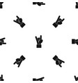 rock and roll hand sign pattern seamless black vector image
