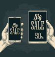 smart phone hold male hand lettered text big sale vector image