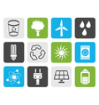 Flat Ecology energy and nature icons vector image vector image