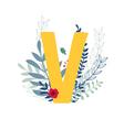 floral alphabet letter v vector image