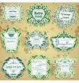 set of green and blue calligraphic design frames vector image