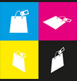 shopping bag sign with tag  white icon vector image