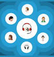 flat center set of earphone service vector image
