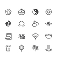 chinese new year black icon set on white backgroun vector image