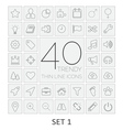 40 Thin Line Icons Set 1 vector image