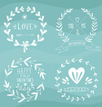 Valentines day wreaths with messages and other vector image